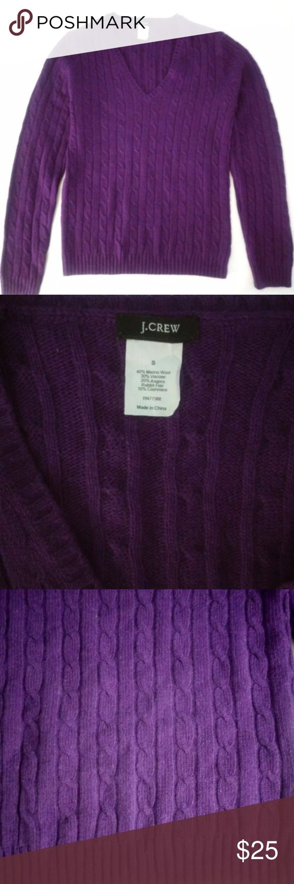 J Crew purple v-neck wool blend women's sweater J.Crew women's sweater in size small.  Fabric is a mix of wool, rabbit, cashmere and viscose fibers.   Style: v-neck cable link.  Sleeves: long   MEASUREMENTS ARE FLAT LAY. Length of 23 in  Sleeves 24 in  Chest / bust 17 in. J. Crew Sweaters V-Necks