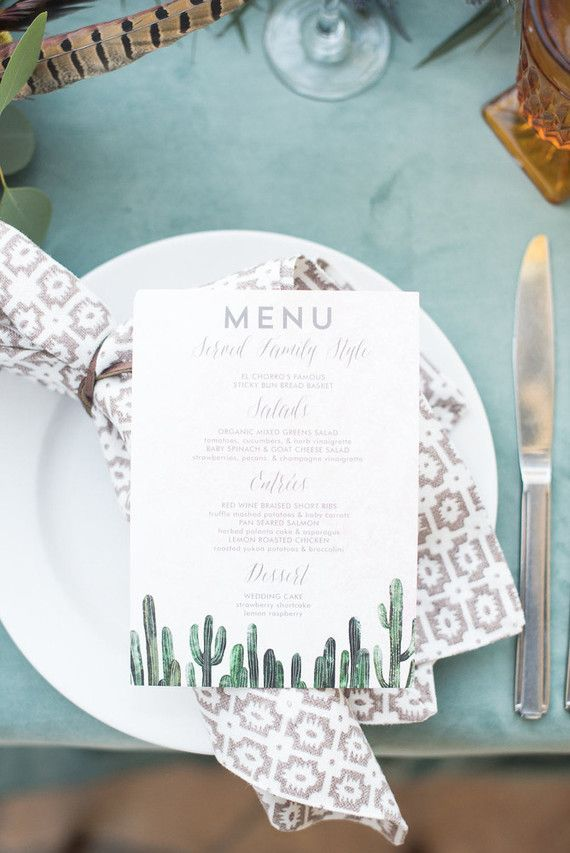 Cacti - wedding invitation suite design by Minted artist Cass Loh. Rustic chic desert wedding.