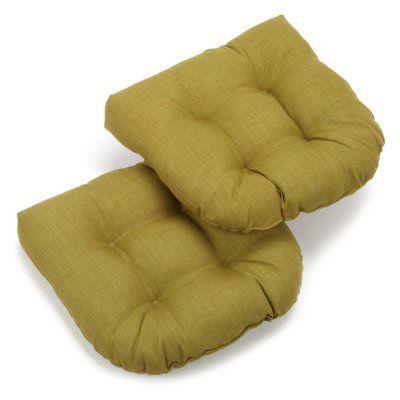 Blazing Needles 19 x 19 in. Solid Outdoor Wicker Chair Cushion Avocado - 93182-SOL-REO-S2-AV