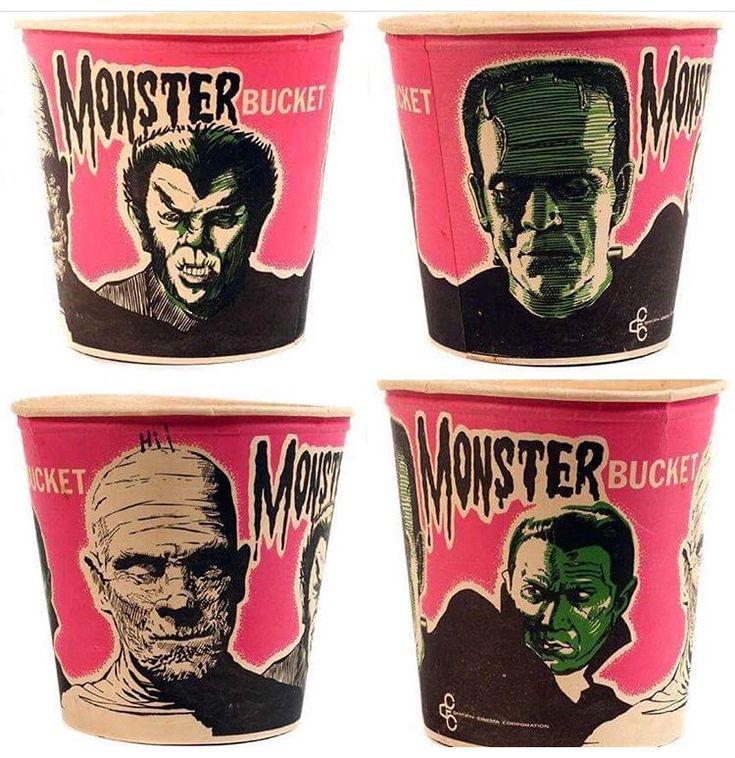 Vintage Movie Monster Popcorn Tubs
