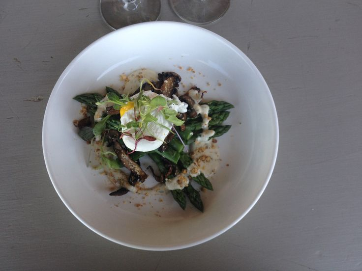 Our Chilled Asparagus Salad with crispy mushrooms, Hazelnut praline, Tarragon yogurt dressing and a Chardonnay poached egg #RavineVineyard #FeastON