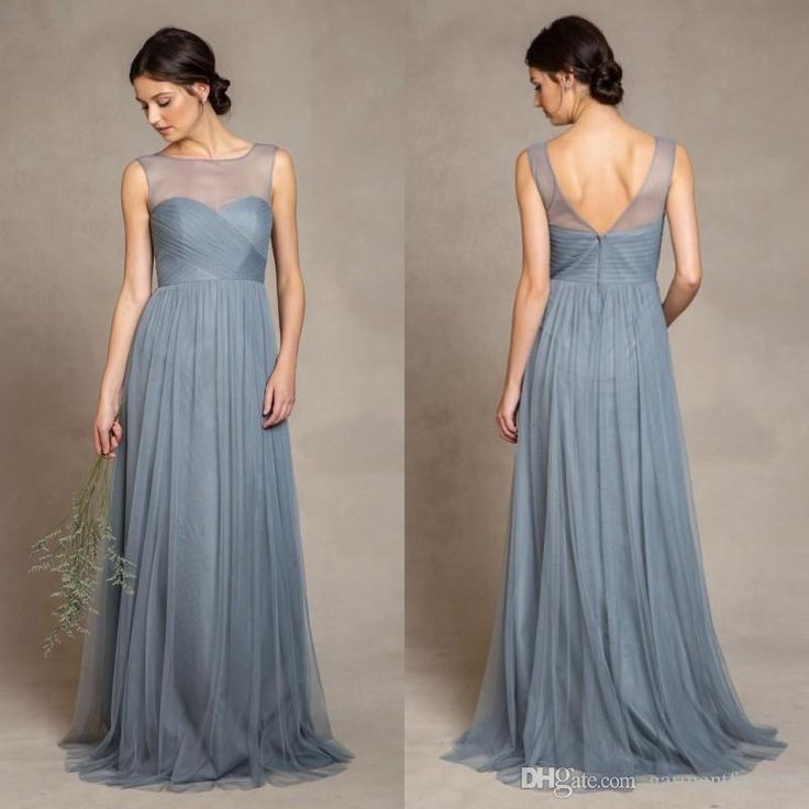 Elegant Dusty Blue Bridesmaid Dresses 2015 Illusion Bateau Neckline Pleats Bodice A Line Floor Length Tulle Evening Dresses Bridesmaid Dresses Designer Bridesmaid Dresses For Teenagers From Garmentfactory, $83.77| Dhgate.Com