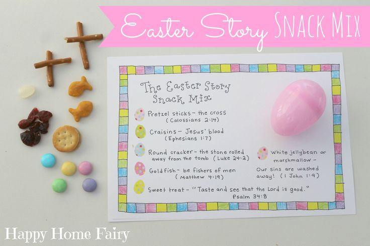 Happy Baby's class was having an Easter egg hunt last week and I really wantedto put an extra special spin on the eggs I was supposedto send in for his classmates. I love that each item in this Easter Story Snack Mixrepresents an important part of the story of Christ and the life of the …