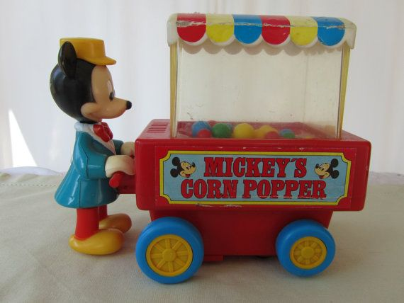 Vintage Mickey Mouse Push Cart Corn Popper Toy by VintageBridges, $12.99