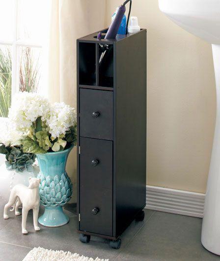 Modern Bathroom Cabinet Storage Organizer Floor Space Saver Dark Wood Finish #Unbranded