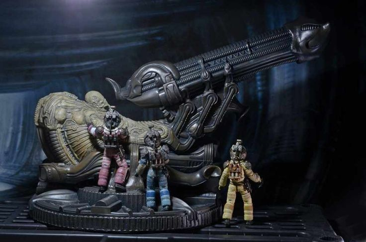 """NECA Fossilized Space Jockey from the first Alien movie is being released December 2016. This large scale product is scaled to fit in with 7"""" scale figures."""