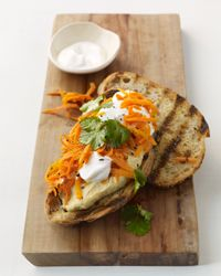spicy carrot and hummus sandwich with greek yogurt