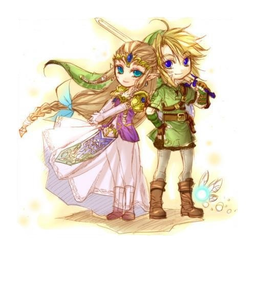 This looks so adorable, but why did they draw Zelda's legs in? It kinda ruins it.<<< Artists sometimes leave the guide lines to leave it like sketch/fully-painted. It kinda gives it a special charm, though I don't know how to call it.
