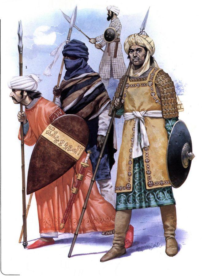 arab muslim cavalryman of the Ayyubid dynasty and a muslim african volunteer of the Ghana Empire servingSultan Saladin during the Battle of Hattin