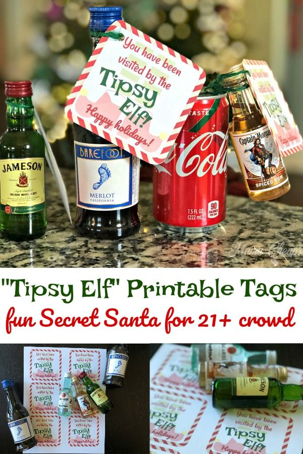 Tipsy Elf Printable Tags Fun Alcohol Themed Secret Santa