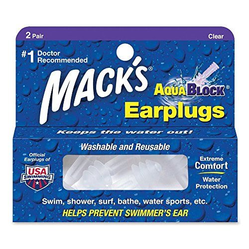 Mack's AquaBlock Earplugs - Clear (2 pair):   No fitting or sizing needed for these pre-molded flanged silicone earplugs designed for ultra soft, ultra comfortable, waterproof protection. Mack's unique triple flange design allows for a more customized fit, which increases its sealing ability and improves wearer comfort. Doctor recommended to seal out water, Mack's AquaBlock Earplugs help prevent swimmer's ear and surfer's ear. Shatterproof carrying case included.
