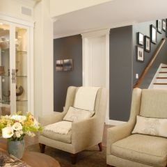 Chairs/Wall Color: Decor, Wall Colors, Living Rooms, Idea, Livingroom, Paint Colors, Room Design, Gray Wall, Accent Wall