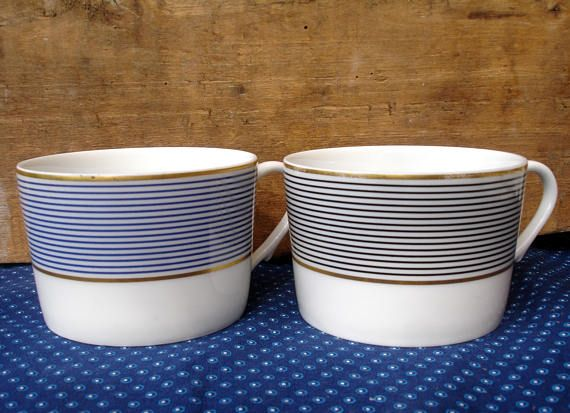 French vintage ceramics, A.Raynaud Limoges, two cups,  A. Raynaud Crinoline, one with  dark blue stripes, one with black stripes