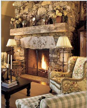 Gorgeous Stone Fireplace.