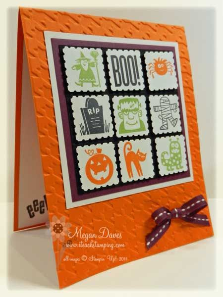 Stampin' Up Spooky Bingo Bits along with the Postage Punch to create a great layered look for this Halloween Card