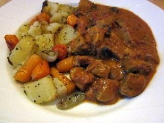 Gryterett med svin, sopp og masser av paprika