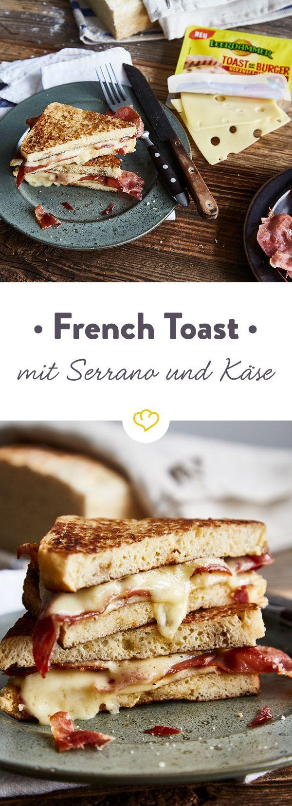Revolutioniere deinen French Toast. Schmelzender Leerdammer Toast and Burger Käse und Serrano werden zwischen Weißbrotscheiben knusprig ausgebacken.