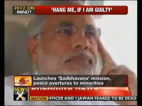Gujarat CM Narendra Modi, speaking to an Urdu magazine, claimed that he was ready to be hanged, if found guilty of complicity in 2002 Gujarat riots. Interest... Hang me if I am guilty: Modi on Gujarat riots  http://www.newsx.com/videos/hang-me-if-i-am-guilty-modi-gujarat-riots
