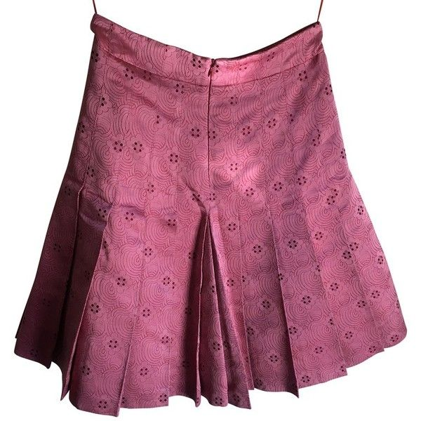 Pre-owned Pleated skirt made of silk ($130) ❤ liked on Polyvore featuring skirts, pink, purple skirt, silk maxi skirt, pink pleated skirt, long pink skirt and pink skirt