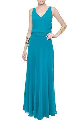 Vestido Longo Crepe Barbados Azul Marinho - Amissima