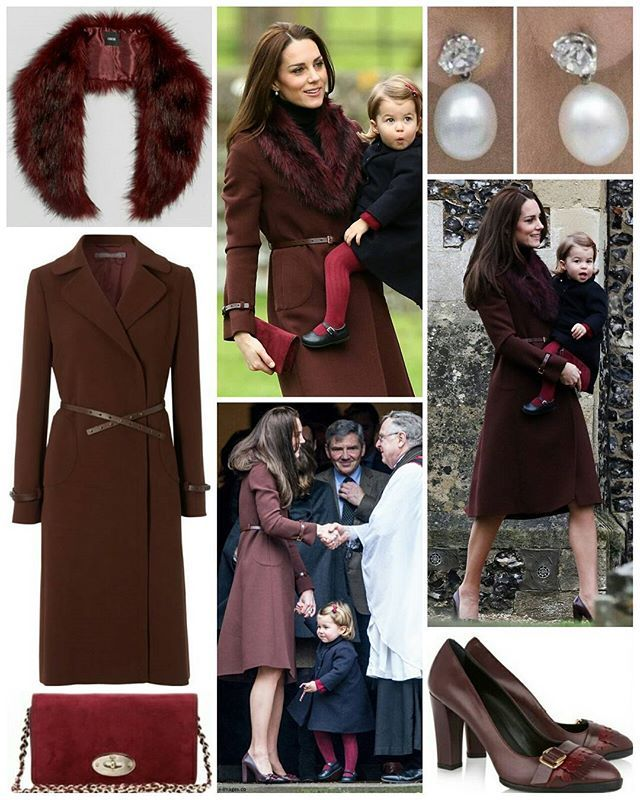 """25 December 2016 The Duke and Duchess of Cambridge took George and Charlotte to church on Christmas Day for the first time at St Mark's in Englefield.  The Duchess opted to repeat the Hobbs 'Celeste' coat she wore Christmas Day in 2012. The £369 brown coat is described: """"Wrap up warm in this stunning double crepe wool coat. In a sumptuous seasonal chestnut brown, this coat subtly flares from the hips. It's given an on trend toughened edge thanks to the leather stud fastening, cuff straps and…"""