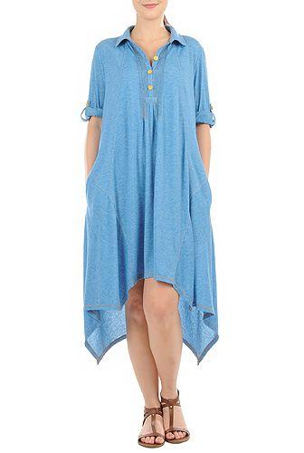 Asymmetric High-Low Hem Jersey Knit Shirtdresses, Polyester Rayon Stretch Jersey Knit Dresses