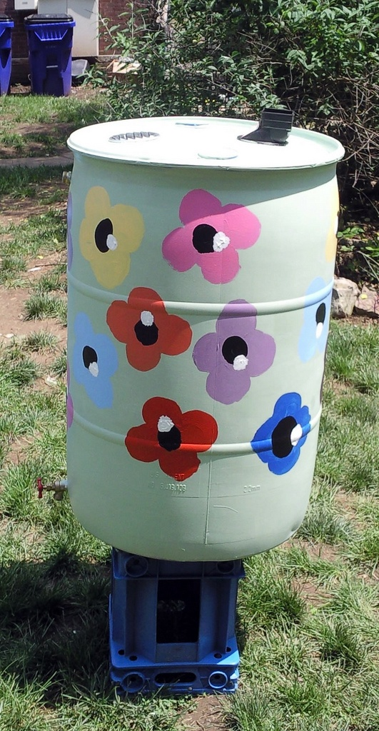 Decorate a rain barrel and collect rain water from your gutters to use to water your lawn or garden. Photo by tokenblogger.com, via Flickr