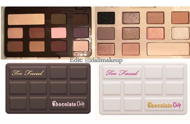 Too Faced White chocolate chip and chocolate chip palettes