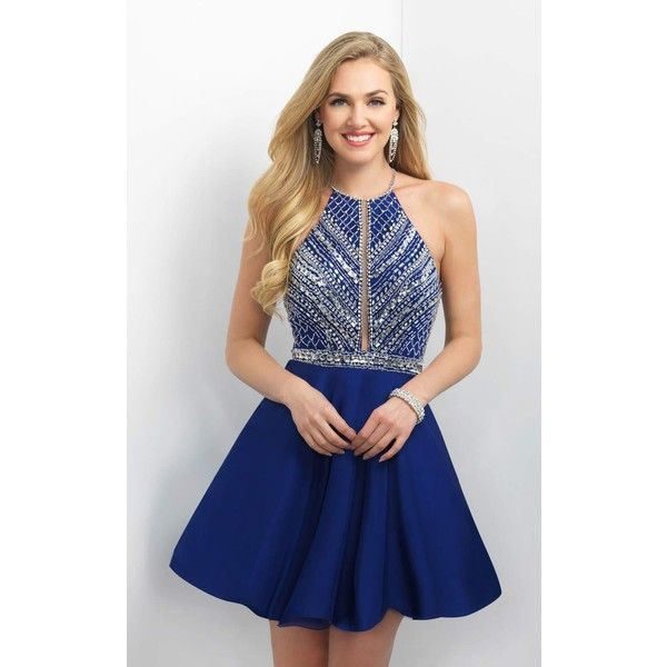 Blush 11165 Bat Mitzvah Dress Mini Halter Sleeveless ($390) ❤ liked on Polyvore featuring dresses, formal dresses, navy, short blue dresses, short homecoming dresses, navy blue prom dresses and blue homecoming dresses
