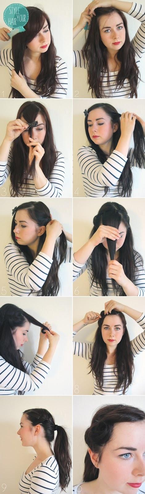 Style your hair. 50s hairdo tutorial.