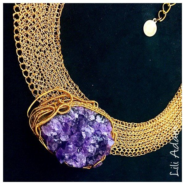 Custom request wire wrapped jewelry. Wire crochet and wrapped collar.