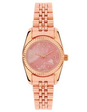 rose gold metal watch by asos