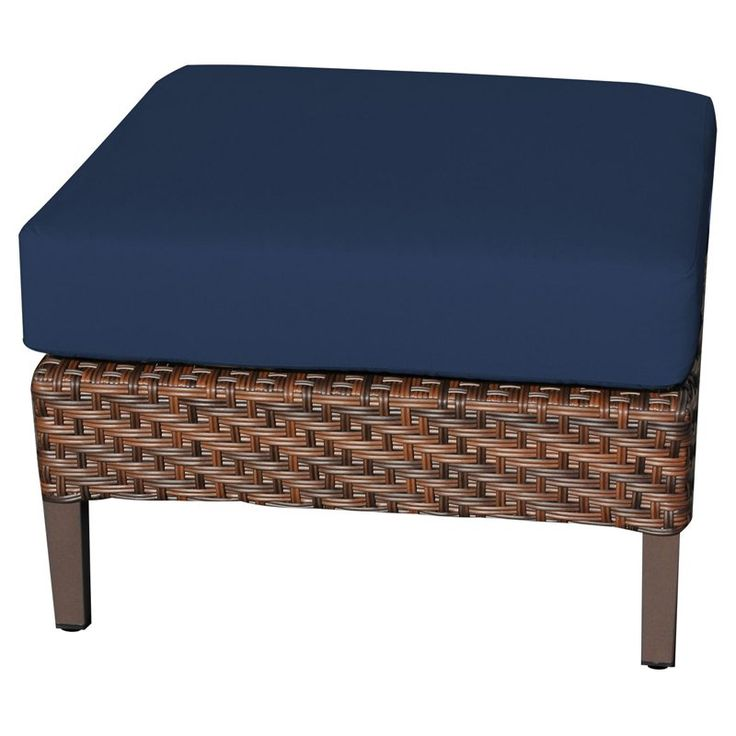 TK Classics Carmel Wicker Outdoor Ottoman - Set of 2 Cushion Covers Terracotta / Wheat - TKC060B-O-TERRACOTTA