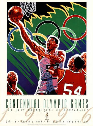 Atlanta 1996 Olympics BASKETBALL Official Event Poster by Hiro Yamagata - Available at www.sportsposterwarehouse.com