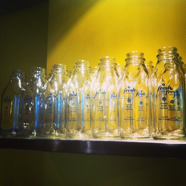We use reusable recyclable glass 32oz. bottles for take-away juices. Bring one for a refill and get a 15% discount!