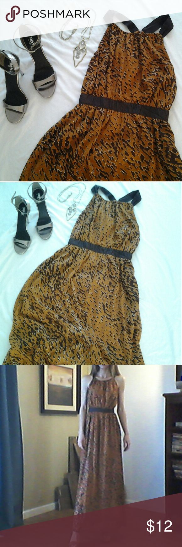 Maxi tiger print halter dress W118  Walter Baker From W118 by Walter Baker. Size XS. Excellent condition and like new. Halter neck with brown ribbon like straps. Zip back closure. Long printed sheet over  short burnt orange colored lining. Fitted at waist but not elastic. W118 by Walter Baker Dresses