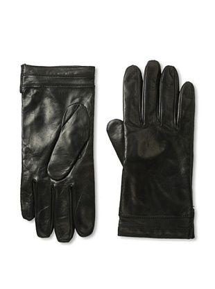 Portolano Men's Piped Leather Gloves (Black)