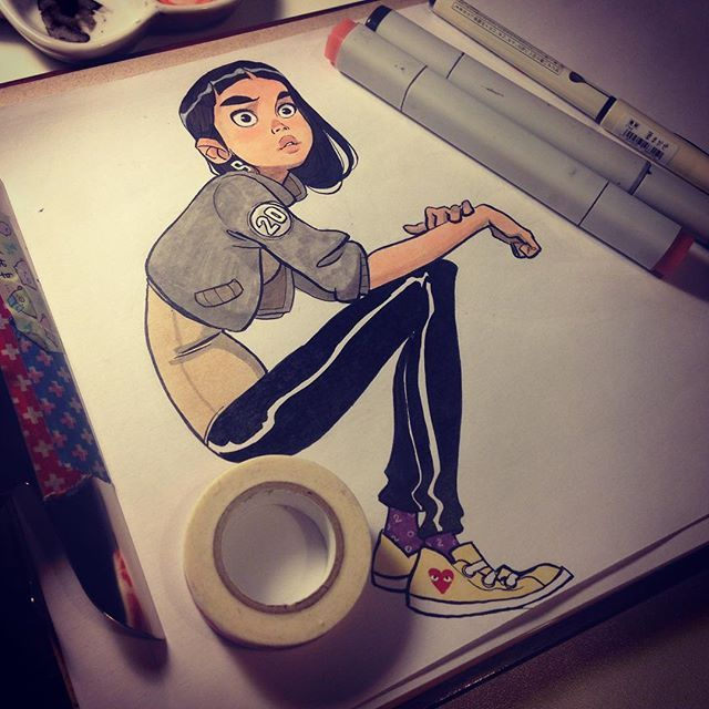Instagram media by anna_cattish - #Inktober 20 #girl