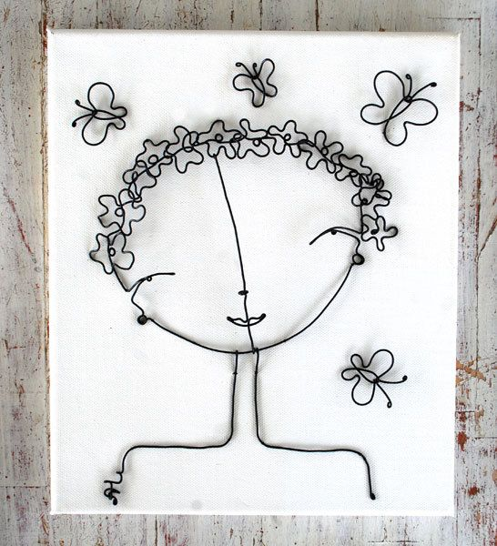 fil de fer sur carton entoilé ou chassis  wire flower girl by Alex Landa