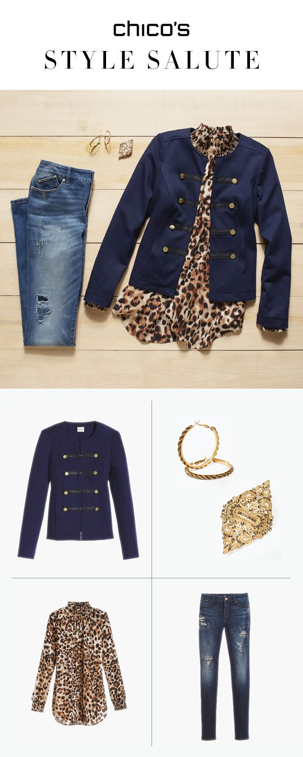 Get spotted in this chic #OOTD. A military jacket gets a feminine boost from a flowy leopard print top, destructed denim, and gold-tone jewels.