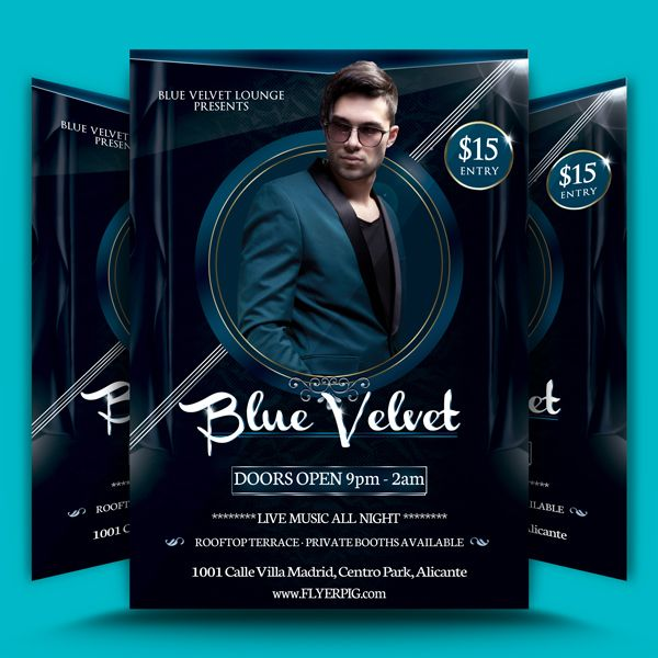 Blue Velvet Club Flyer Template is a very versatile design, it can be used to promote any club or party event. It has a regal blue background with a........