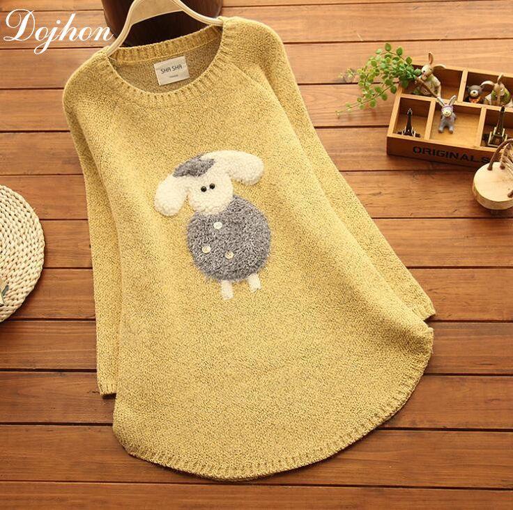 Aranyos téli hosszú stílus laza nő terhes nők pulóver meleg Sheep Maternity Kötött ruhák Terhes Ruhák a terhes nő