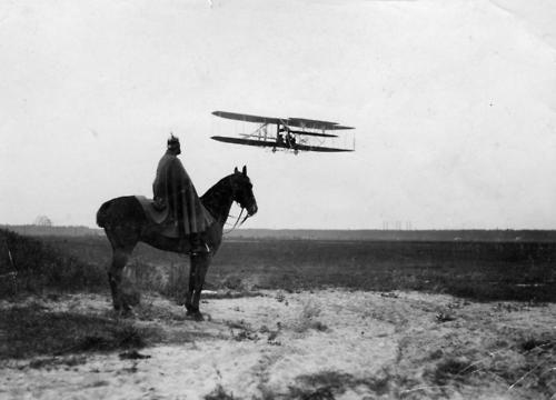 From his mount a German horseman views an early airplane at Tempelhofer Feld Berlin 1900s