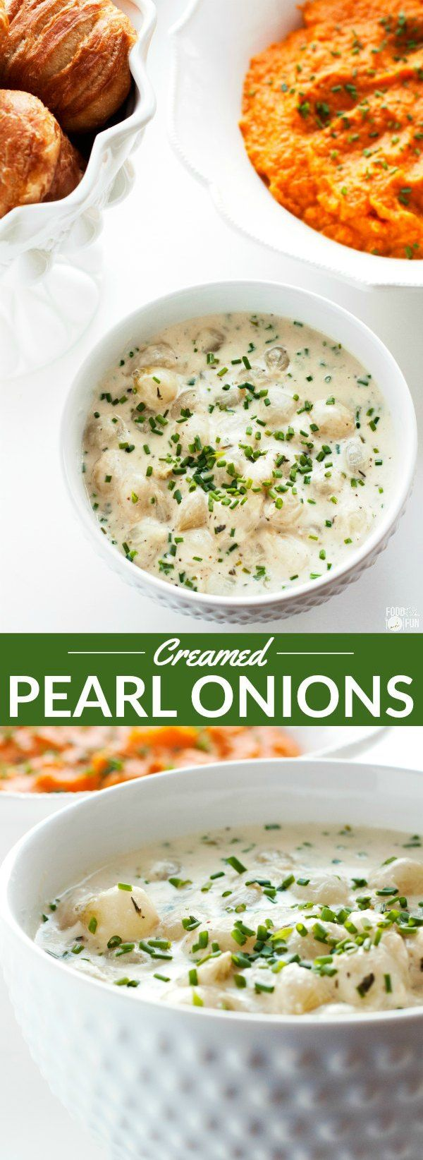 These flavorful Creamed Pearl Onions are simmered in a silky cream sauce with a touch of nutmeg, bright chives, and a squeeze of lemon. They're the perfect side dish for Spring or Easter dinner!   Easter Recipe   Spring Recipe   Easter Side Dish