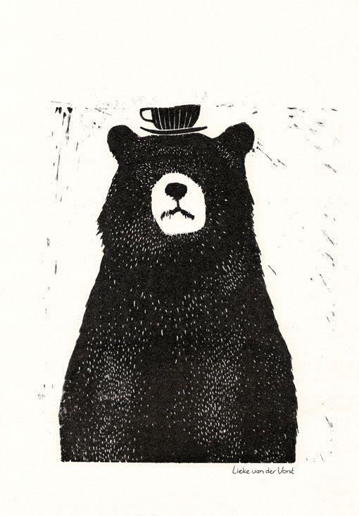 Linocut Bear - Liekeland - BijzonderMOOI* Dutch design online
