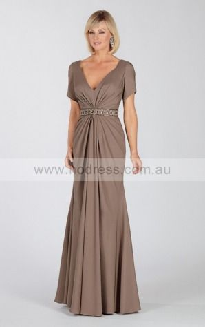 None Floor-length Natural A-line Chiffon Formal Dresses aiga307040--Hodress
