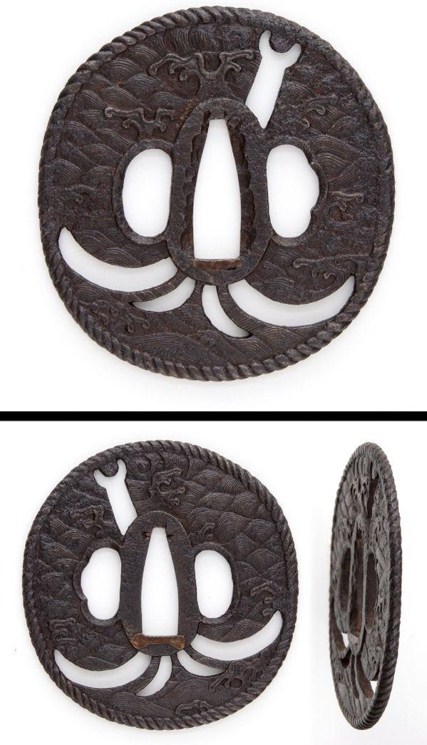 Edo Straw-rope pattern on rim, Tidal wave carved on round shape iron Tsuba