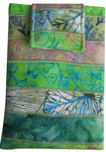 "Ipad Mini, Kindle Fire, Nook, 7"" Tablet Sleeve in Green Batik | SieberDesigns - Bags & Purses on ArtFire"