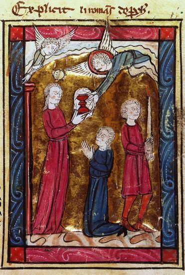 L'Apparition du Graal. Miniature du XIIIe siècle extraite du Conte du Graal (ou Roman de Perceval), de Chrétien de Troyes. (Bibliothèque nationale de France, Paris.)