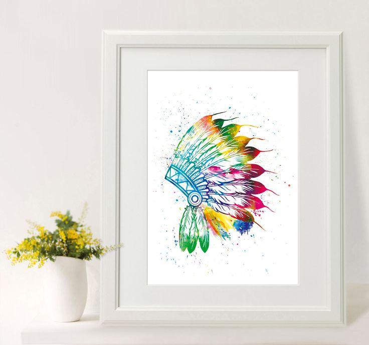 """Indiánská+čelenka+Tisk+originální+akvarelové+grafiky+velikosti+A4.+(pro+rámečky+nebo+pasparty+21x30+cm)+Indiánská+náčelnická+čelenka+Jde+o+moji+originální""""watercolor+art""""+ilustraci.+Vytištěno+na+profesionální+tiskárně+na+značkový+fotografický+papír+Glossy+nebo+Premium+Matte+o+gramáži+minimálně200+g/m2.Tiskárna+využívá+systém+ChromaLife100+,+který+je..."""